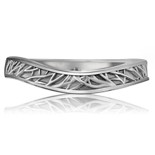 Contoured Tree of Life Wedding Band - top view