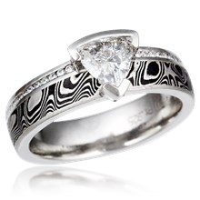 Diamond Side Mokume Engagement Ring