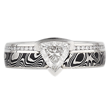 Diamond Side Mokume Engagement Ring - top view