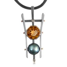 Pearl and Gemstone Pagoda Pendant