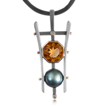 Pearl and Gemstone Pagoda Pendant - top view