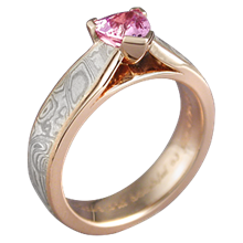 Mokume Cathedral Engagement Ring with Trilliant Cut Pink Sapphire