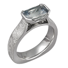 Mokume Cathedral Engagement Ring with Montana Sapphire
