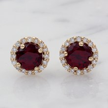 Ruby and Diamond Halo Earrings - top view