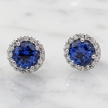 Sapphire Halo Stud Earrings - top view