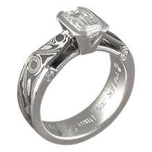 Mokume Bridge Engagement Ring Darkened