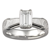 White Mokume Bridge Engagement Ring with Emerald Cut