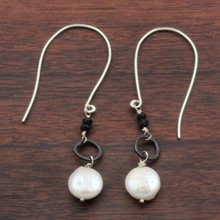 Coin Pearl and Black Spinel Earrings