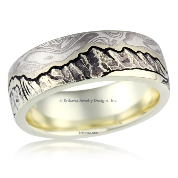 Mountain Camper Mokume Wedding Band