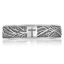 Tree Of Life Cross Wedding Band - top view