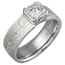 Mokume Solitaire Engagement with Etched Platinum and Radiant Diamond