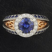 Vintage Celtic Knot Engagement Ring With Sapphire - top view