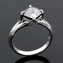 Asscher Cut Black Diamond Engagement Ring