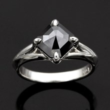 Asscher Cut Black Diamond Engagement Ring - top view