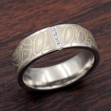 Mokume Wedding Band With Vertical Diamond Channel In Palladium