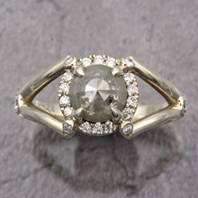10K Green Gold Raw Claw Engagement Ring - top view