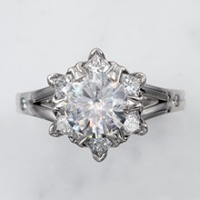 Snowflake Engagement Ring In Palladium - top view