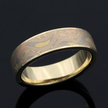 Trigold Mokume And 14K Yellow Gold Wedding Band