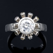 Sputnik Engagement Ring With Fancy Colored Diamonds - top view