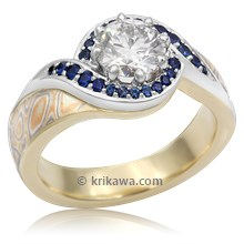 Pave Swirl Mokume Engagement Ring With Sapphires