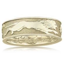 Lion Grapevine Satyr Wedding Band - top view