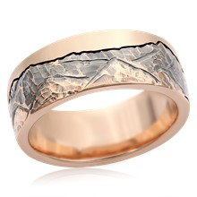 Mountain Beach Wedding Band - top view