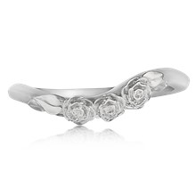 Contoured Rose Trio Wedding Band - top view