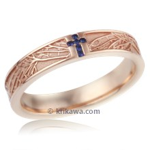 Tree Of Life Cross Wedding Band With Stones