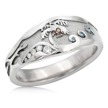 Palm Tree Diamond Beach Wedding Band