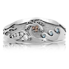 Palm Tree Diamond Beach Wedding Band - top view