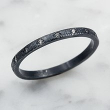 Silver And Diamond Stacking Ring