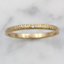 Yellow Gold And Diamond Stacking Ring - top view