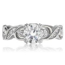 Infinity Leaf Engagement Ring - top view