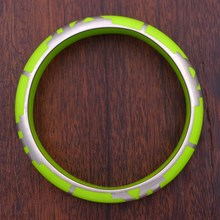 Quadrant Lime Resin Bangle - top view