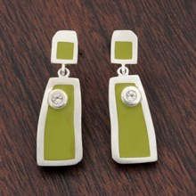 Eli Lime Green Resin Earrings - top view