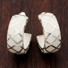 Creole Clan White Resin Earrings - top view