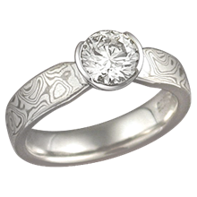 White Mokume Solitaire Tapered Engagement Ring