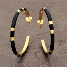 Black Resin Hoop Earrings - top view