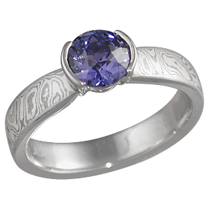 Mokume Solitaire Tapered Engagement Ring with Purple Sapphire