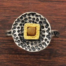 Stamped Silver And Diamond Ring - top view