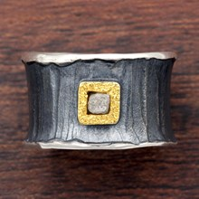 Silver And Raw Diamond Cigar Band - top view