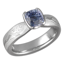 Mokume Solitaire Tapered Engagement Ring with Blue Sapphire