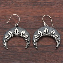 Silver Crescent Earrings - top view