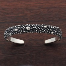 Silver Granulated Cuff Bracelet - top view