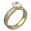 Mokume Solitaire Straight Tapered Engagement Ring in Trigold