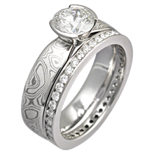 Mokume Solitaire Tapered Engagement Ring in White Bridal Set