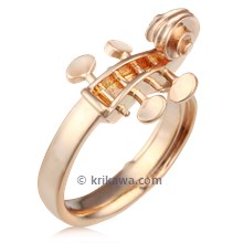 Unique Musical Cello Ring In Rose Gold