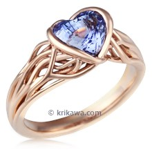 Embracing Tree Branch Bezel Engagement Ring With Heart Cut Sapphire