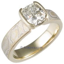 Summer Mokume Solitaire Tapered Head Engagement Ring