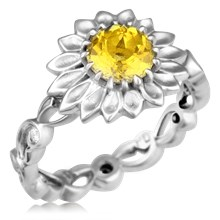 Daisy Delicate Leaf Engagement Ring With Yellow Sapphire